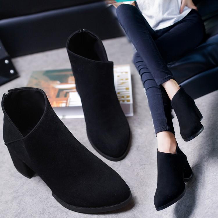 2016 秋 高跟磨砂短靴子女靴馬丁靴女英倫尖頭短筒粗跟踝靴