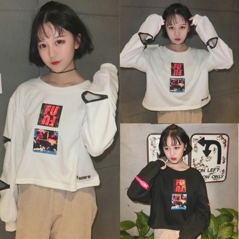 殺價丶韓國 2016 秋裝 原宿風小心機雙拉鏈袖子FU 印花長袖T 恤女學生潮