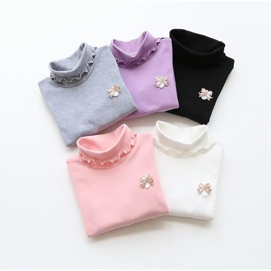 2016 秋 女童寶寶長袖兒童打底衫套頭圓領木耳邊上衣T 恤