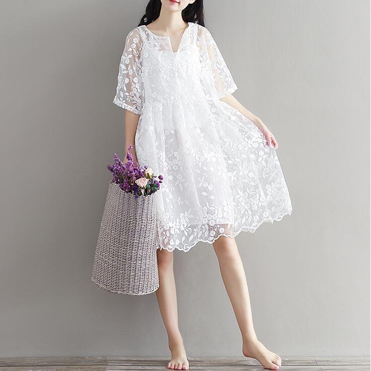 ~~清新森女文藝復古蕾絲洋裝~~白色仙女連衣裙~優雅小禮服洋裝
