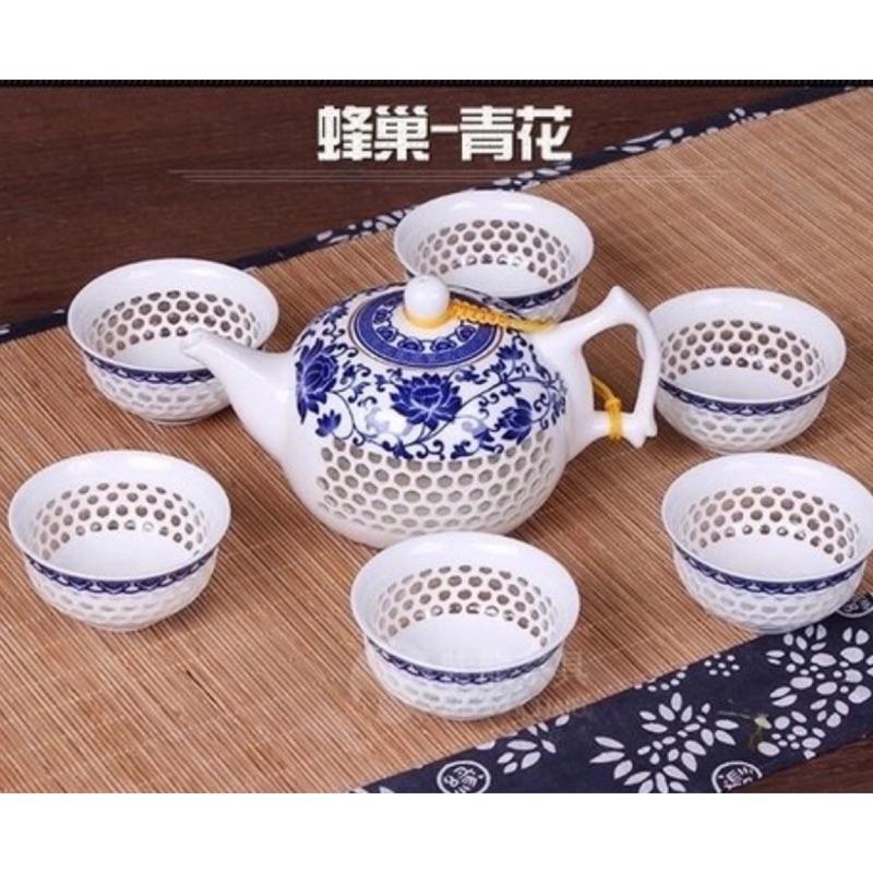 景德鎮青花瓷茶具組蜂巢透明玲瓏茶具一壺六杯