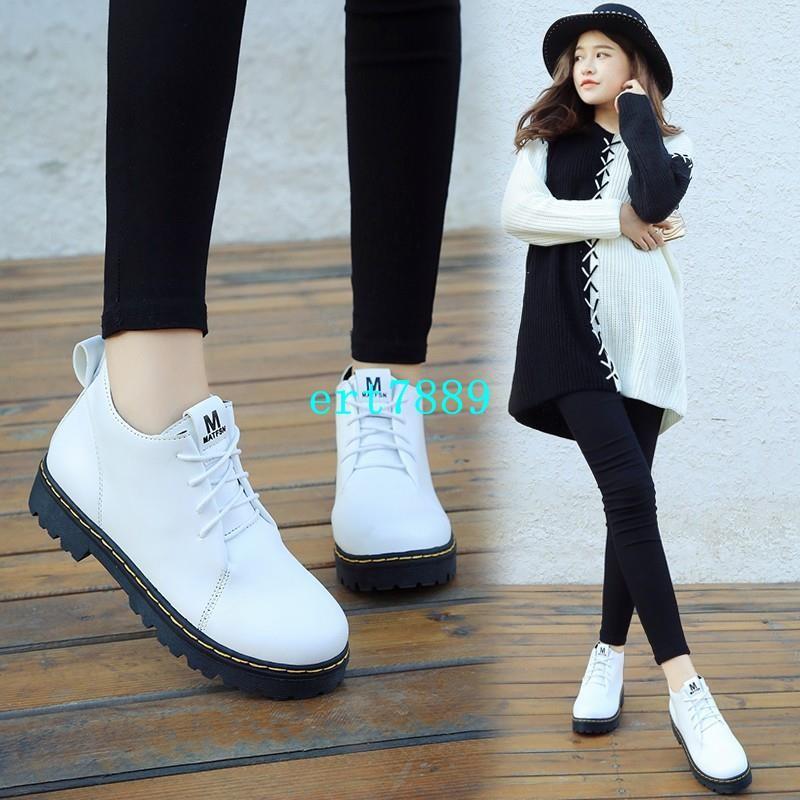 ert7889 馬丁靴女英倫風復古系帶粗跟高跟厚底靴子短靴春秋單靴機車靴裸靴