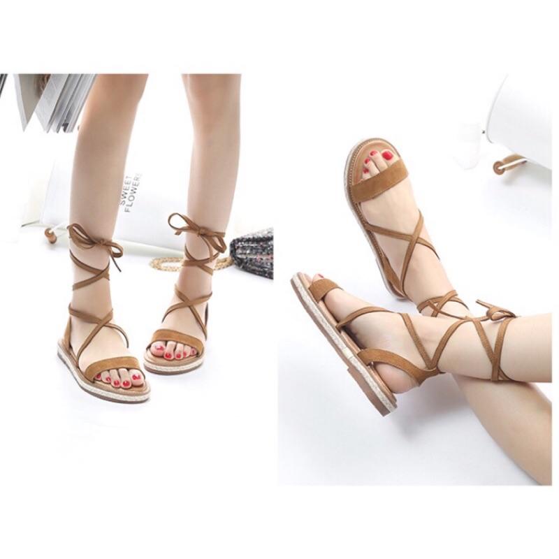 涼鞋2017 女平底學生百搭夏天鞋子女鞋平跟絨面綁帶羅馬鞋