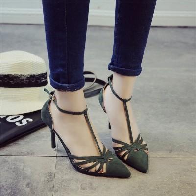 絨面高跟鞋鏤空性感T 字搭扣淺口尖頭細跟中跟女單鞋