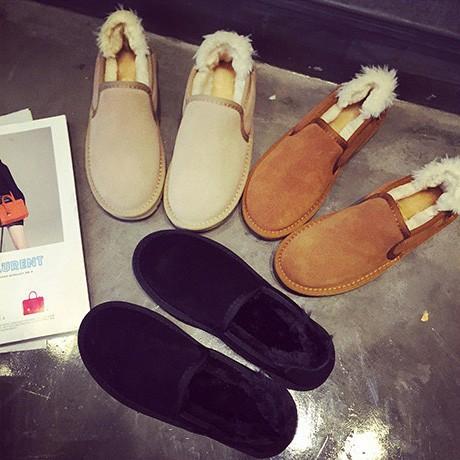 窈窕佳人美麗妝扮11 号 大碼情侶款一腳蹬懶人平底雪地靴女套腳棉短靴加絨保暖面包鞋