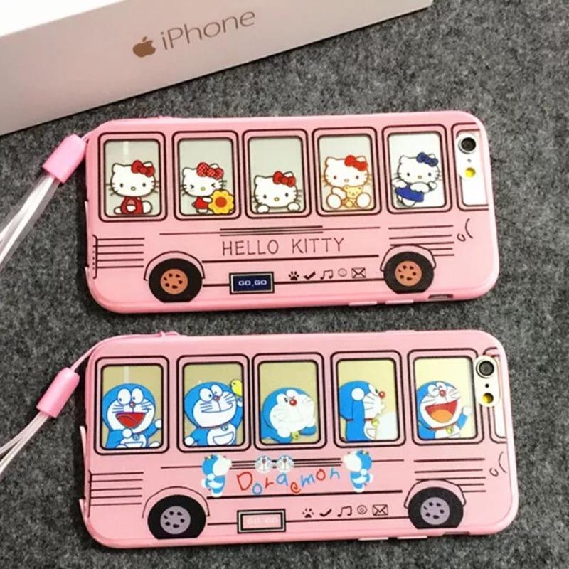 卡通巴士iphone6s 手機殼蘋果6plus 軟矽膠保護套5s 掛繩卡通全包殼粉紅軟殼H
