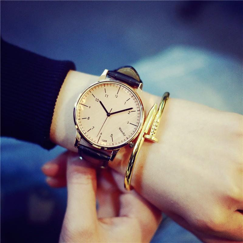 ~~ 風~~手表女學生 簡約韓國真皮防水超薄復古 百搭圓形玫瑰金表潮手錶 手錶女生 男生
