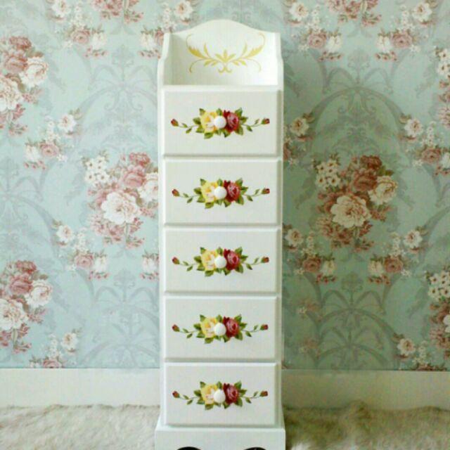 粉紅玫瑰 屋玫瑰彩繪五斗櫃