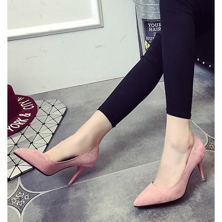 ~酷我 ~ 春秋高跟鞋 復古絨面單鞋性感細跟尖頭鞋子黑色淺口女鞋子