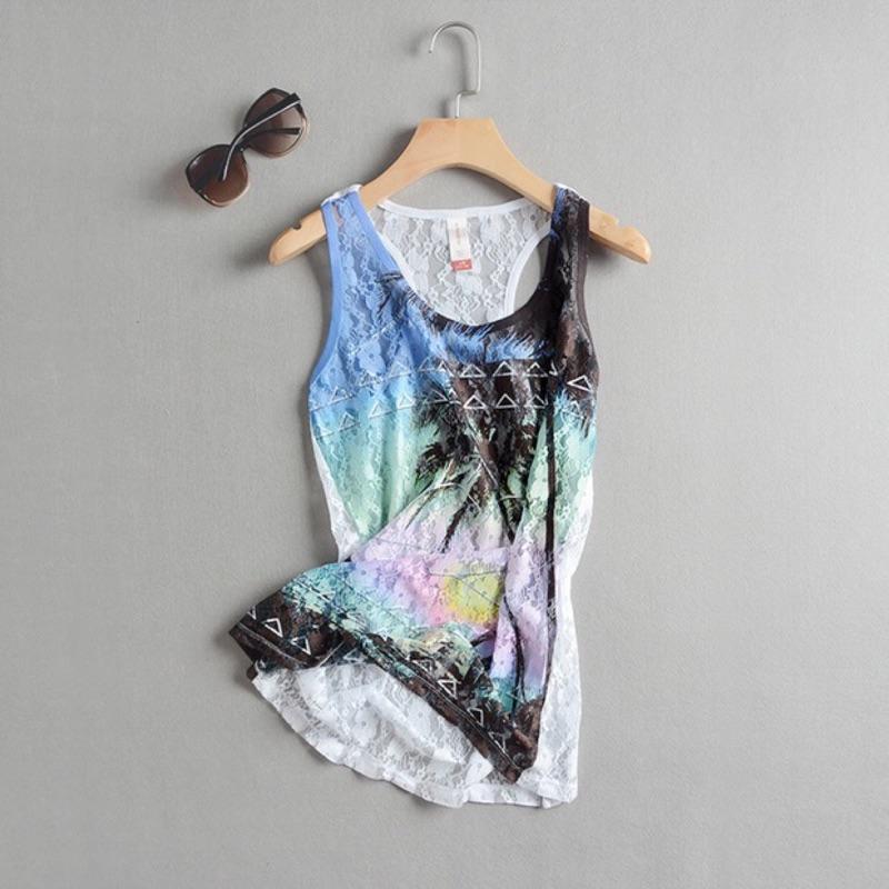 大 蕾絲透明網紗熱帶風情印花背心