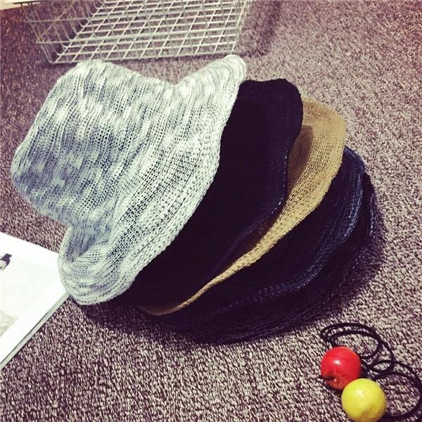 拇指 優雅光身 折疊的棉麻荷葉邊圓頂帽草帽漁夫盆帽子