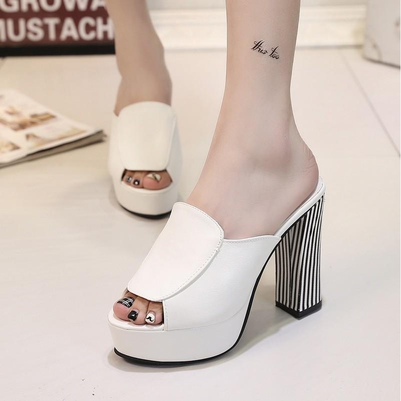 粗跟超高跟女鞋一字拖鞋 鞋性感潮鞋防水台夜店公主鞋