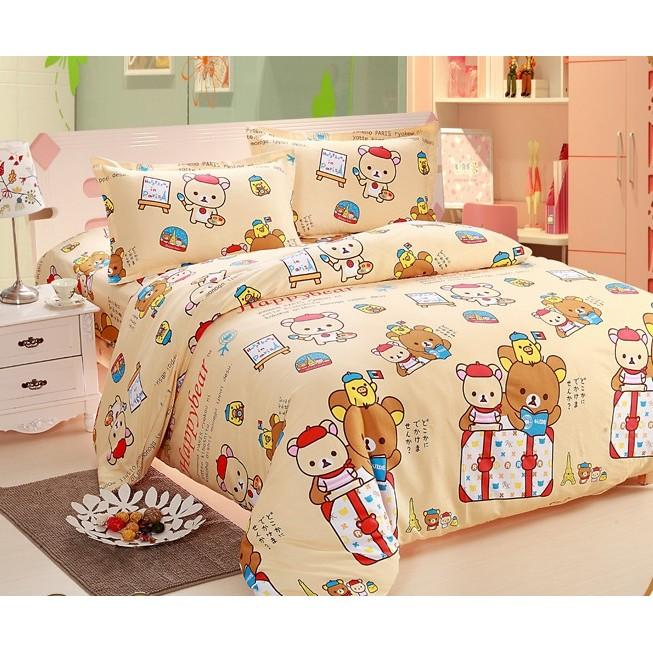 黃色 拉拉熊純棉床包組