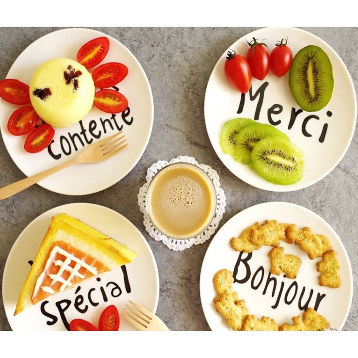 Zakka 雜貨正骨瓷簡約法文西餐盤