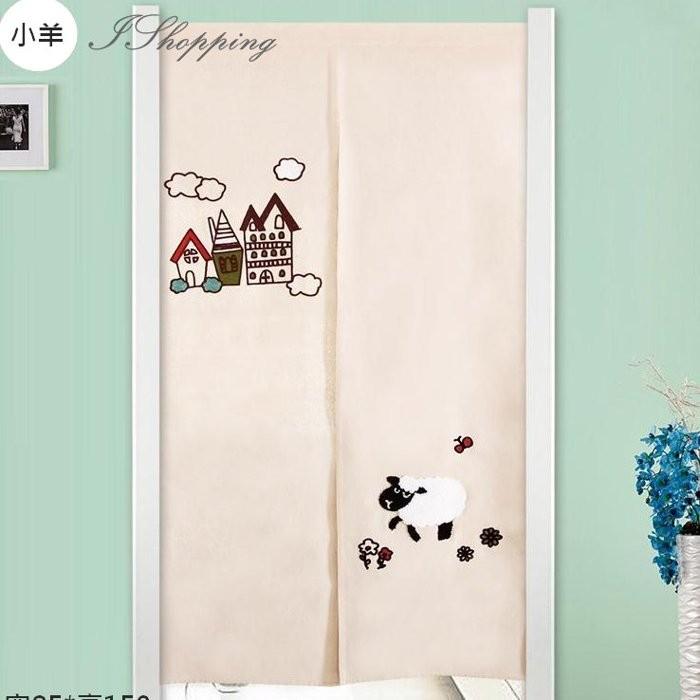 33Design 日式韓系刺繡棉麻門簾綠葉太陽花朵幸運草貓頭鷹羊動物薄款微遮光送掛吊杆風水