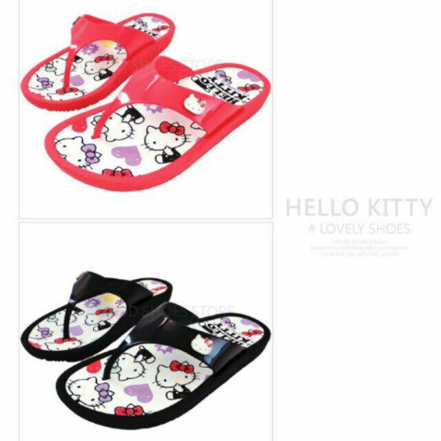 HELLO KITTY 凱蒂貓915061 復古塗鴉風防水夾腳拖鞋黑色紅色款