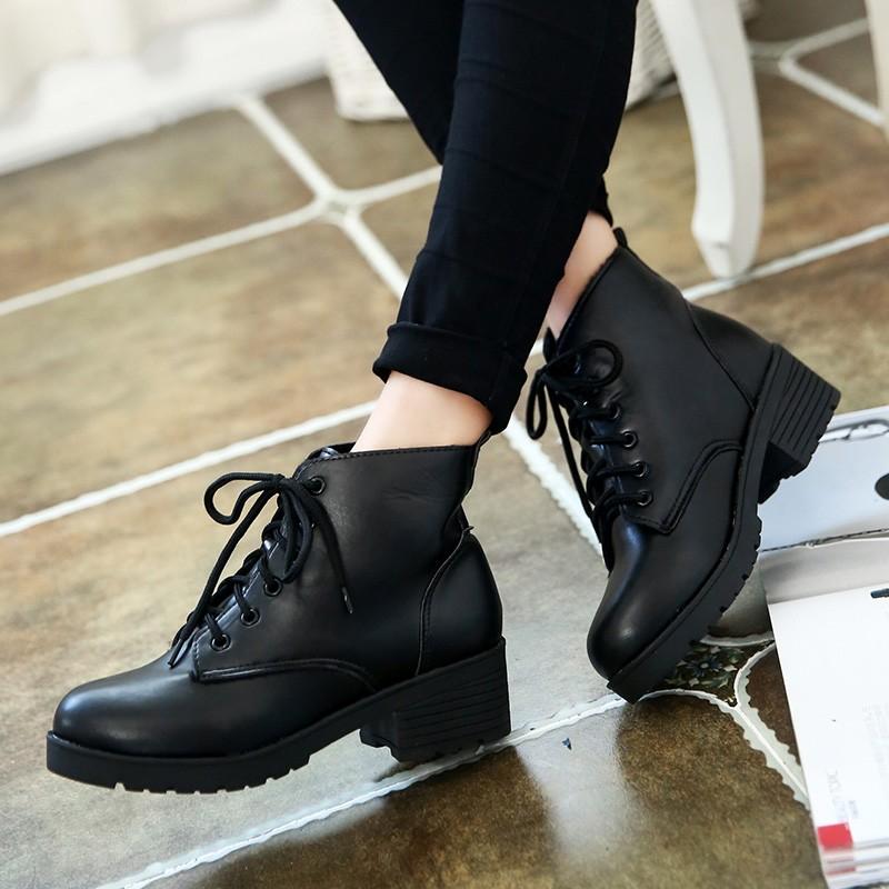 爆款底價英倫風馬丁靴女2016  厚底粗跟單靴復古系帶中跟短靴女鞋子