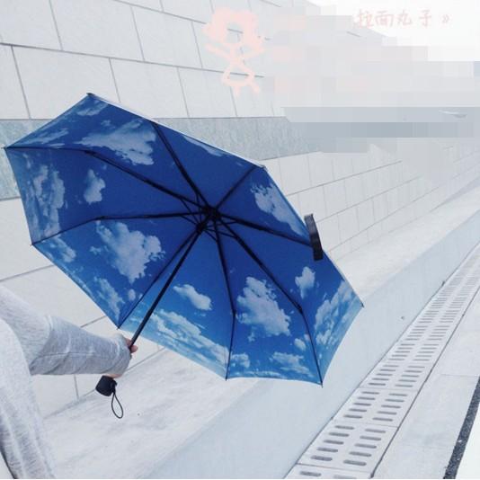 ~丸子新奇系列~夏日 外面黑膠防曬塗料內裏天空折疊雨傘遮陽傘晴雨傘