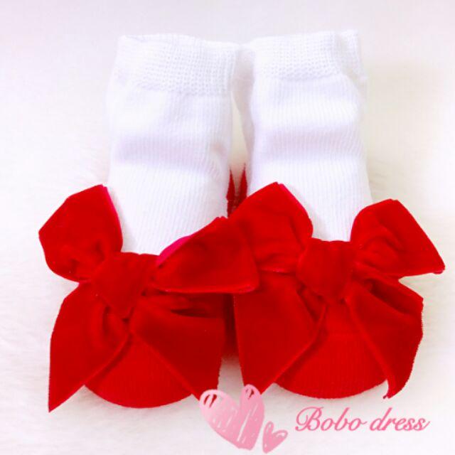 ~Bobo dress ~ 紅色絨布蝴蝶結公主 寶寶襪新生兒滿月彌月百日週歲生日花童婚紗喜