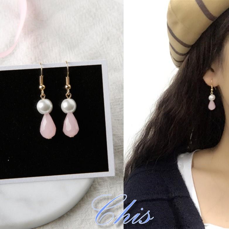 Chis Store ~珍珠粉水滴耳環~韓國925 純銀防過敏不褪色甜美類水晶圓珠珠百搭垂