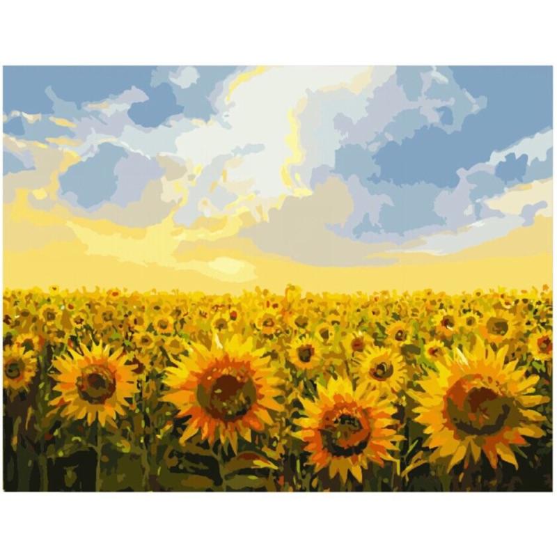蒂爾傢居 館DIY 油畫數字油畫無框畫藝術畫40x50 ~向日葵.光芒~ 滿2 幅免