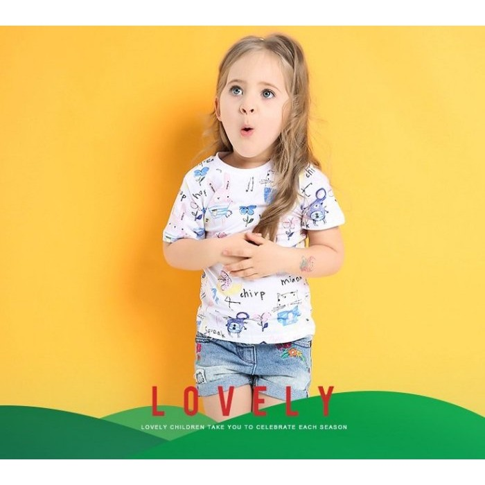 ~草莓花園~BST 6203 白色貓咪和老鼠遊戲 風兒童短袖衣服上衣T 恤純棉童兒童童T