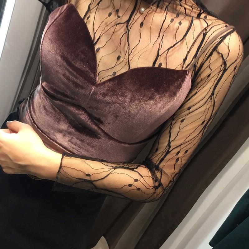 CINSE THEN 復古韓國chic 風花藤小性感透視修身打底上衣氣質百搭鏤空蕾絲衫潮