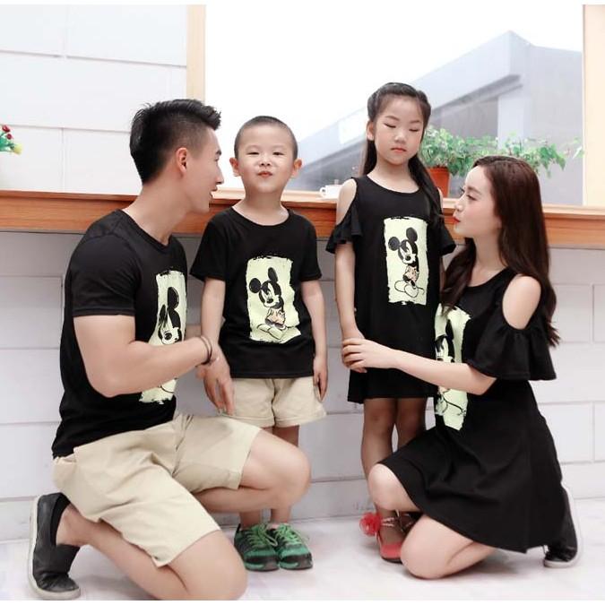 親子裝全家服 一家三口米奇短袖T 恤裙母子母女裝父子裝父女裝