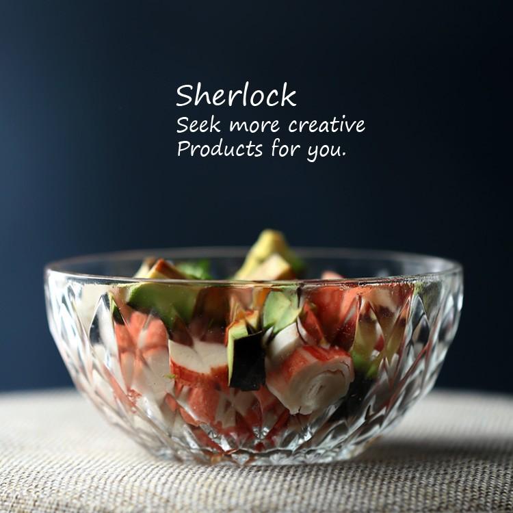 出口單沙拉碗碗盤透明鋼化玻璃碗水果盤家用烘焙點心碗鑽石碗盤餐具