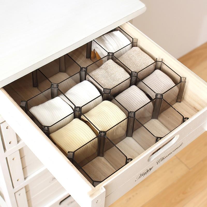 蜂巢式收納格一套六個抽屜收納公仔收納塑膠抽屜分格分類盒收納置物盒內衣襪子抽屜隔板