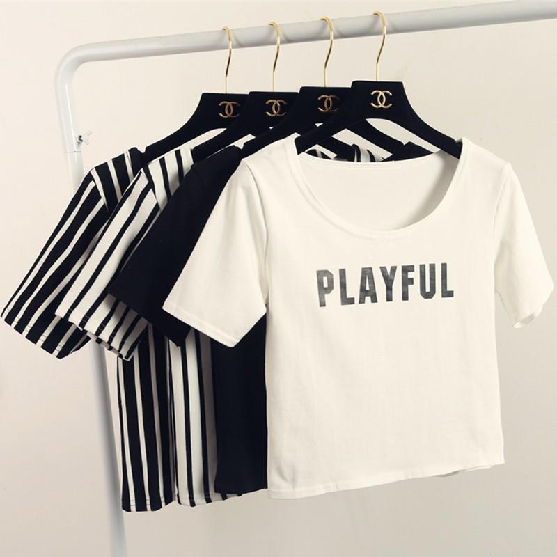 露肚臍純色女裝打底衫春夏半袖短款小圓領體恤衫短袖 條紋t 恤