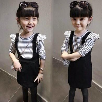 2016  兒童條紋假兩件背帶裙 A 字裙女童裙子背帶連衣裙