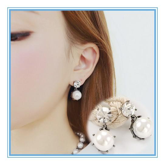 水鑽大珍珠復古夾式耳環大氣大方氣質 閃亮耳環耳夾耳飾無耳洞~希望種子 網~