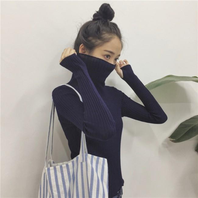 薄款女式高領花邊長袖針織衫打底衫純色毛衣16962