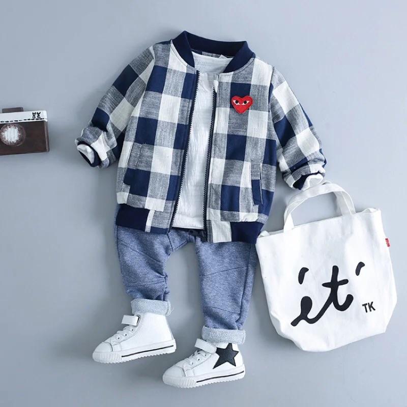2016 男寶寶春裝格子外套0 1 2 3 歲半男童嬰兒衣服上衣潮