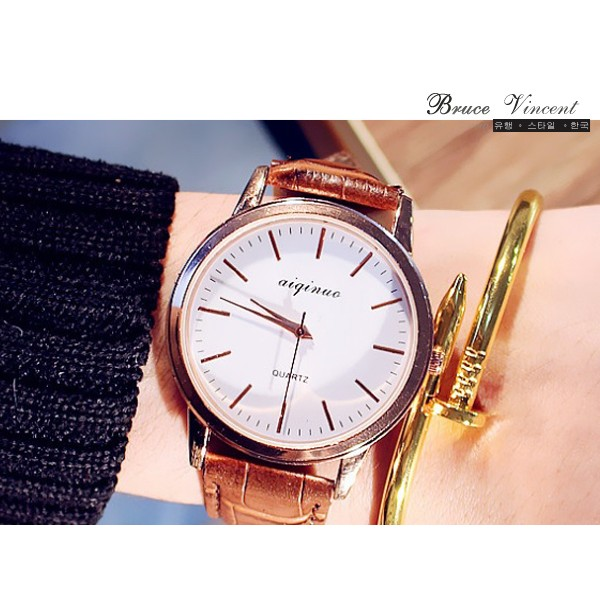 BV 布魯斯G03 韓系 簡約 款皮錶帶款玫瑰金殼宋慧喬同款情侶對錶2 色 附錶盒