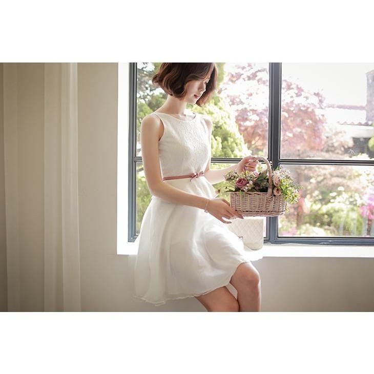 16YN0420 2 夢幻爆款無袖小禮服歐根紗拼接蕾絲洋裝連身裙伴娘禮服宴會洋裝S L