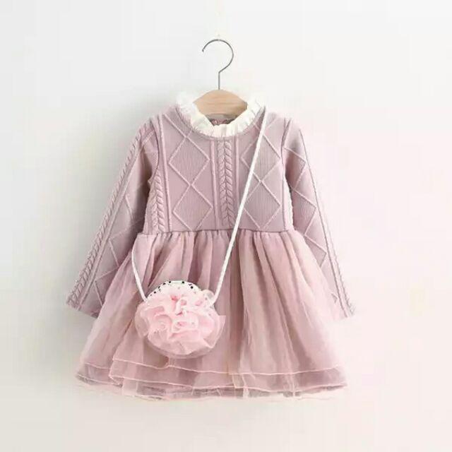 女童純色立體針織花樣秋兒童網紗裙公主裙童裙 蕾絲小花邊立領不附包包
