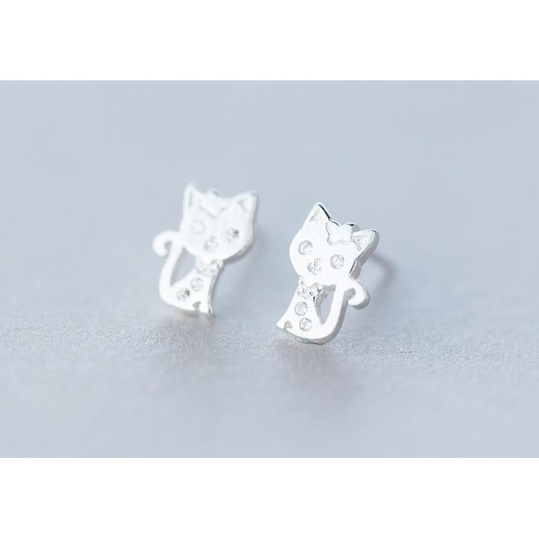 皇后銀飾童趣貓咪鑲鑽耳環甜美可愛小貓耳針不過敏925 純銀E121