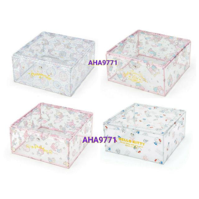 三麗鷗~KITTY ,美樂蒂,雙子星,大耳狗透明置物盒附蓋~掀蓋式~