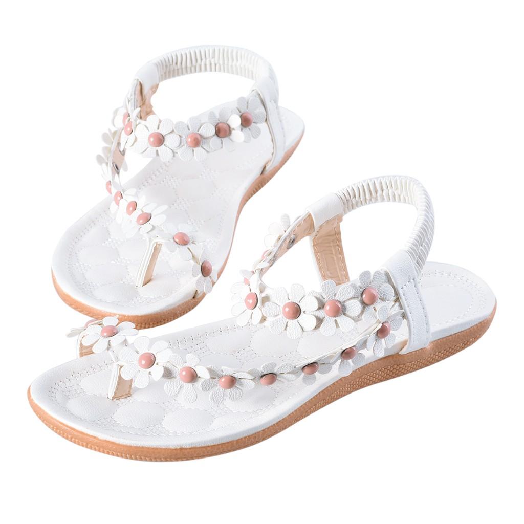夾趾涼鞋夾腳女鞋平底鞋平跟鞋波西米亞風格花朵串珠軟底甜美潮