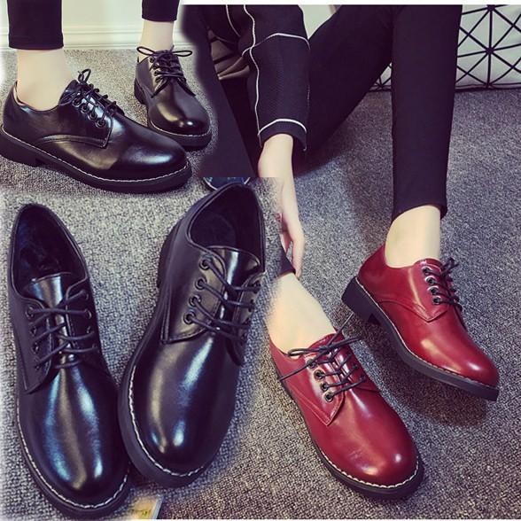英倫皮鞋黑色工作鞋女士酒紅色平底鞋防滑 單鞋低跟上班鞋