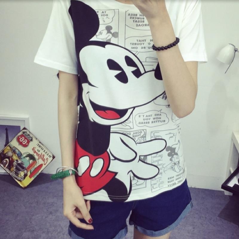 t 实拍918 卡通印花短袖T 恤衫女款可爱宽松米老鼠印花短袖女T 恤