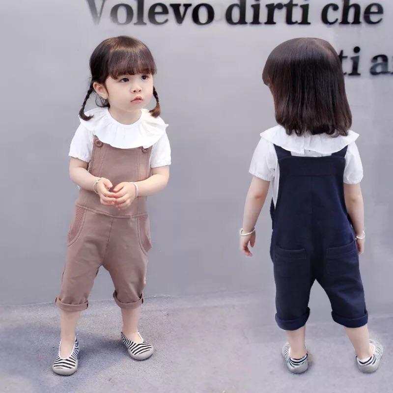 辣媽與萌寶[ ] 花邊T 恤女寶寶夏裝 女童套裝兒童休閒2 件套背帶褲女童寶寶可愛兩件式背