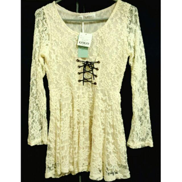 降價賠售 修身蕾絲雪紡洋裝長袖上衣米色米白色