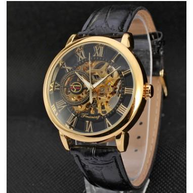 ✨機械男表手動機械表❥FORSINING 鏤空 皮革手錶