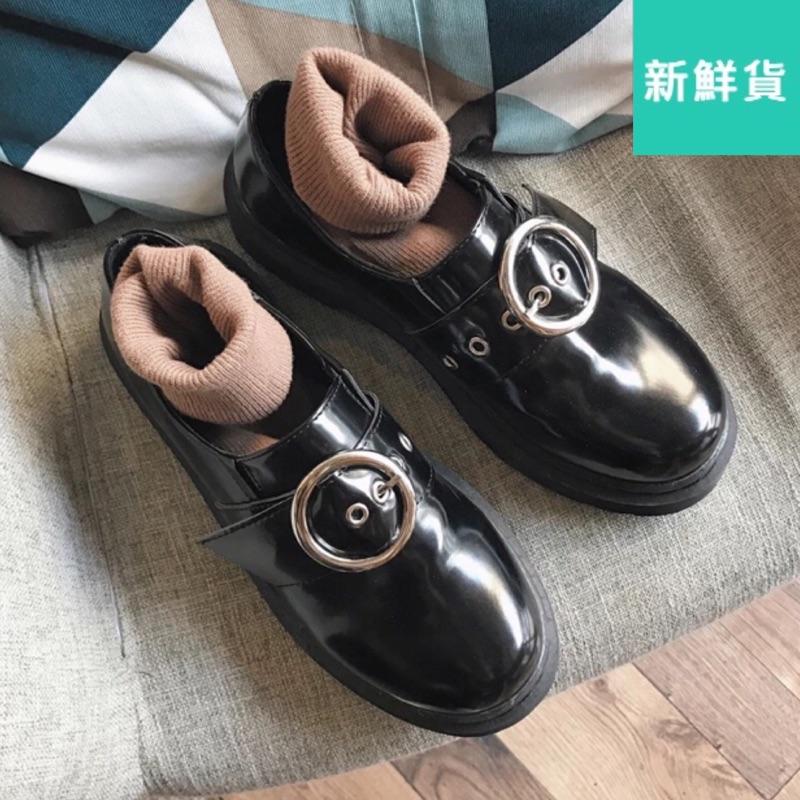 有40 碼❤️春秋日系復古圓頭厚底小皮鞋學院風英倫女單鞋韓國原宿學生潮女鞋
