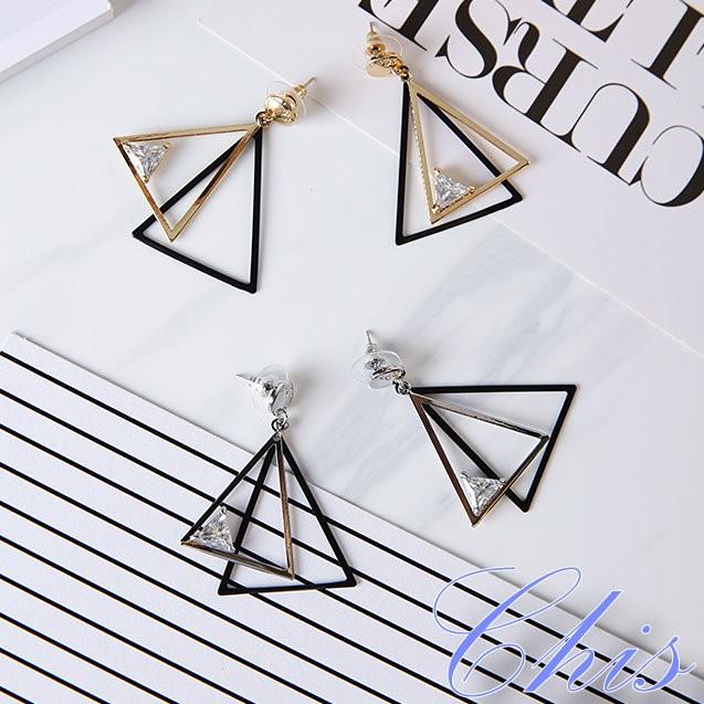 Chis Store ~雙層三角形小鑽耳環~韓國 大三角水鑽水晶垂墜耳飾925 純銀耳針防