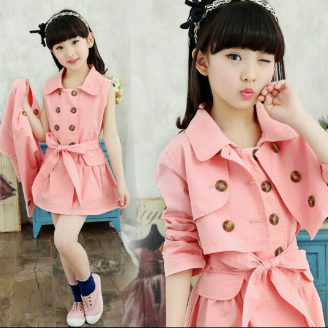 女童中大童中長款風衣外套兩件式套裝潮