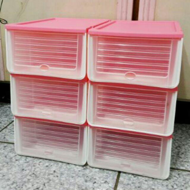 1 組6 個加厚组合透明鞋盒翻蓋鞋子收纳盒收纳整理箱鞋盒5 色